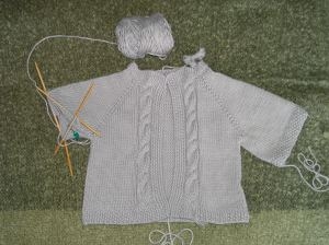 Cabled Raglan Baby Sweater WIP