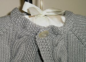 Cabled Raglan Sweater Collar Close-up