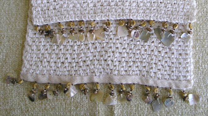 Woven Stitch Table Runner Fringe Close-up