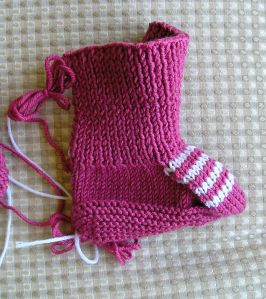 Booties with Striped Instep