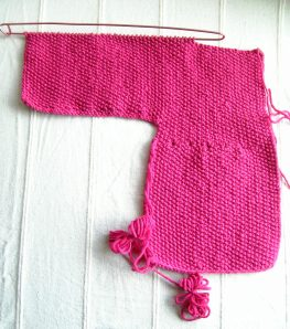 Front Half of Baby Cardigan in Progress