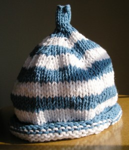 """Striped Baby Hat"" with seam and jogless jog showing, sort of"