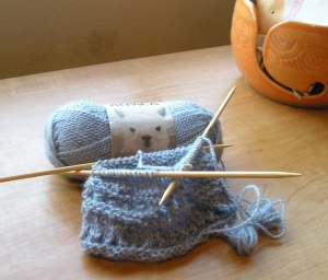 Susie Rogers' Reading Mitts, in Progress