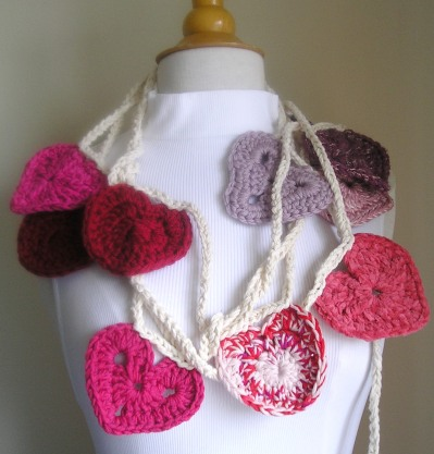 Crocheted Hearts Garland