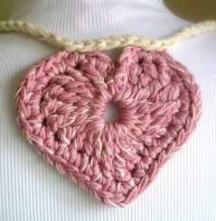 Pink Crocheted Heart Close-up (exact details below)