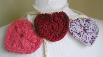 Three More Crocheted Hearts (exact details below)