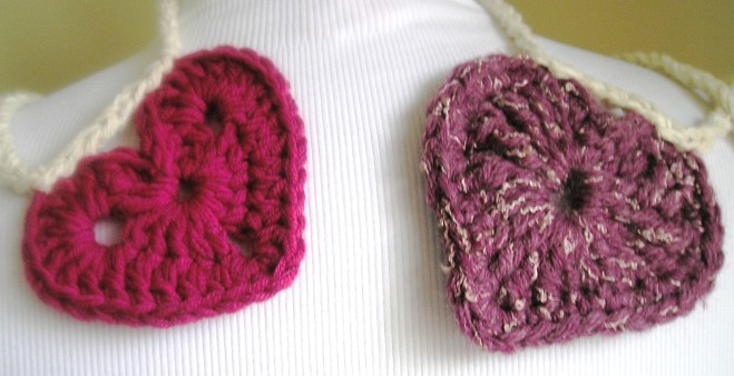 Two Crocheted Hearts (exact details below)