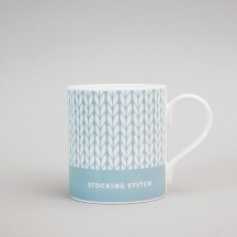 Duck Egg Blue Stocking Stitch Mug