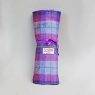 Harris Tweed Purple Knitting Needle Roll