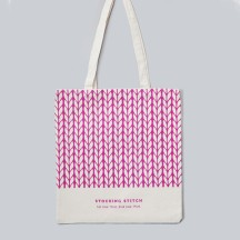 Pink Knitting Tote Bag