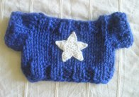 Blue Sweater with White Crocheted Star