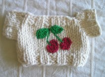 Ivory Sweater with Crocheted Cherries