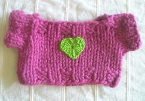 Mauve Sweater with Green Crocheted Heart