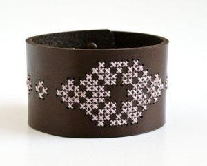 Cross Stitch Leather Cuff by Red Gate Stitchery