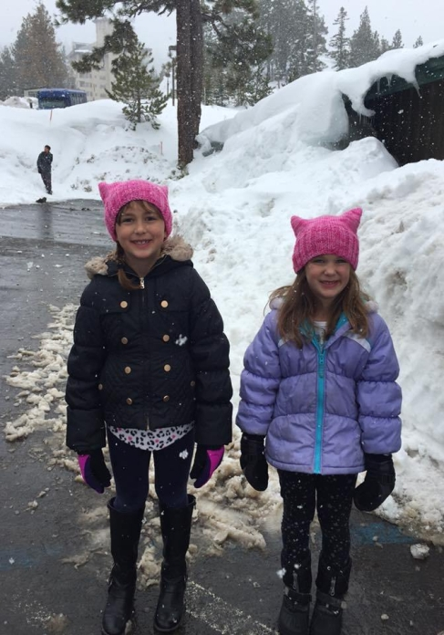 Ella and Lolo Wearing Pussy Hats (February 2017)